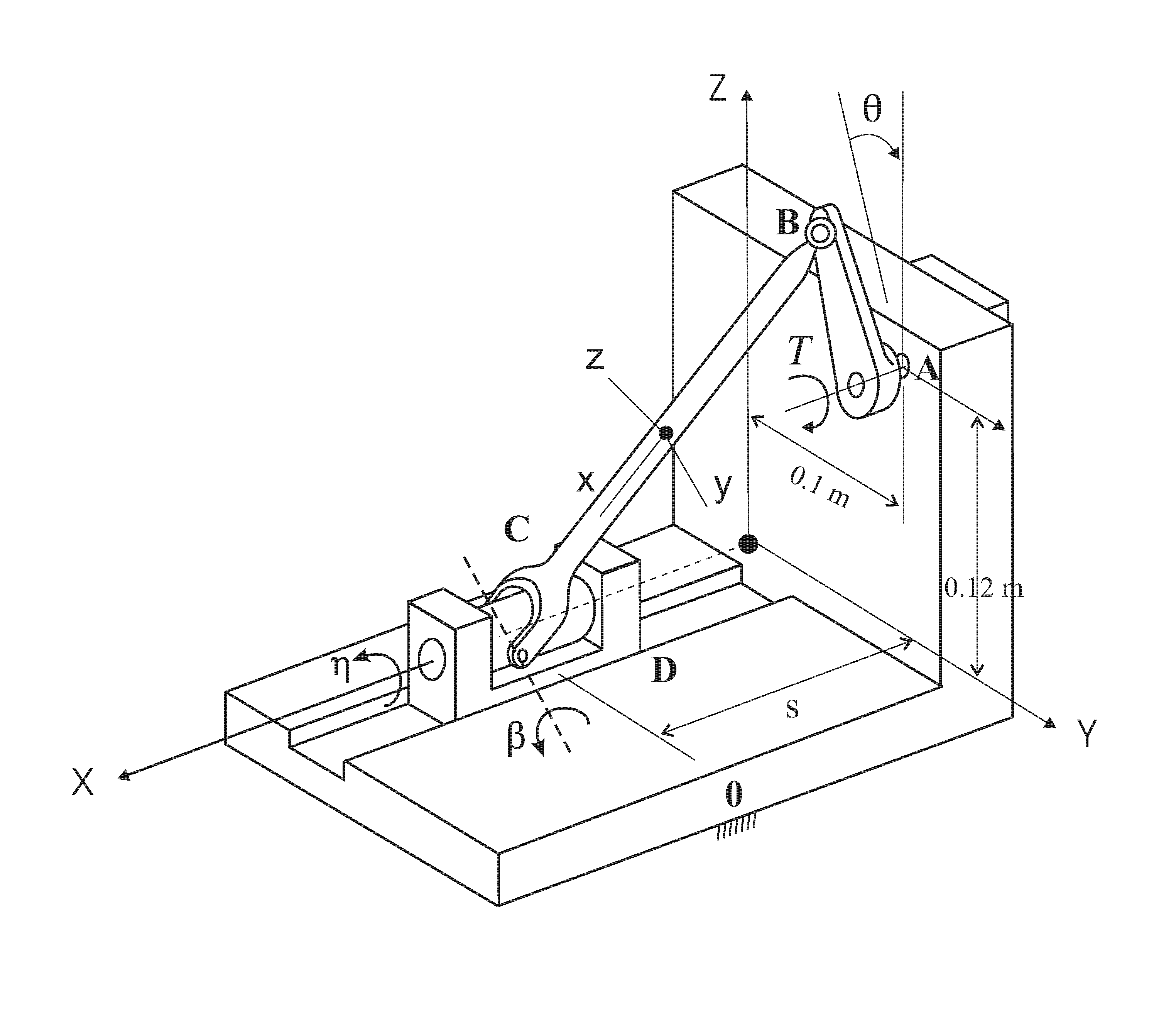 Spatial rigid slider-crank mechanism image